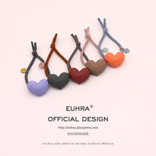 EUHRA 5 Colors Shape Big Heart Love Frosted Surface Elastic Rubber Band Woman Girl Hair Children Accessories