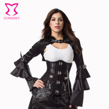 Corzzet Black Leather Steampunk Underbust Corset Skirt Waist Cincher Sexy Gothic Corset And Bustiers