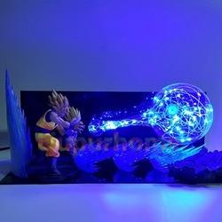 Dragon Ball Z lámpara de escritorio hijo Goku Padre hijo Gohan Kamehameha Led noche luces Anime Dragon Ball Super Saiyan iluminación
