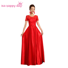 red bridesmaid dresses long romantic satin lace vintage sleeve dress party gown with short sleeves wedding guest H3578(China)