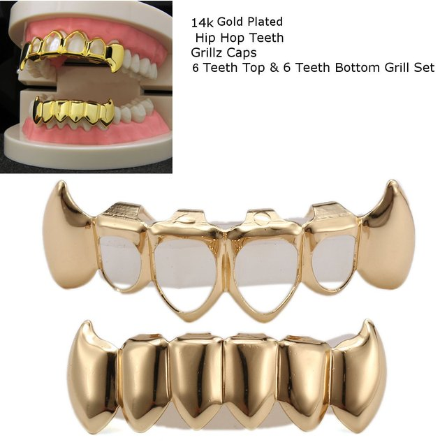 Gold Bloodsuck Teeth Four Hollow Open Face Mouth Grillz Cap Fang Top    Solid Bottom Grill Set Rock Hip Hop Custom Party Gift ef33aebf954f