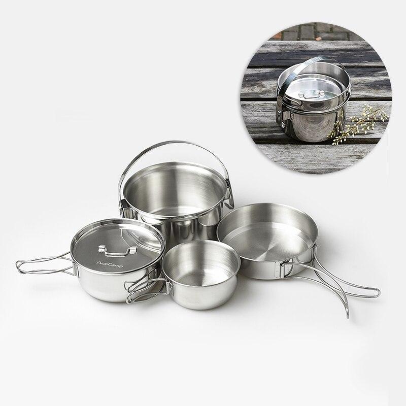 Batterie de cuisine en acier inoxydable Pot en plein air Portable ustensiles de cuisine Kit de couverts sac en filet Camping randonnée pique-nique outils de cuisine ensembles