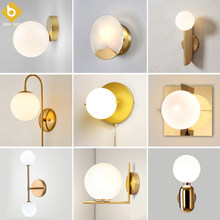 Modern Glass Ball Wall Lamp Sconce Led Bedroom Wall Light Fixture for Home Decor Nordic Foyer Living Room Corridor Luminaire E27(China)