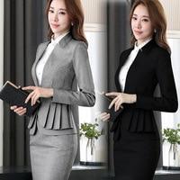 2018 Winter formal elegant Women's Blazers Work Suits ladies Skirt Jackets suit set office lady uniforms business Plus Size 5XL