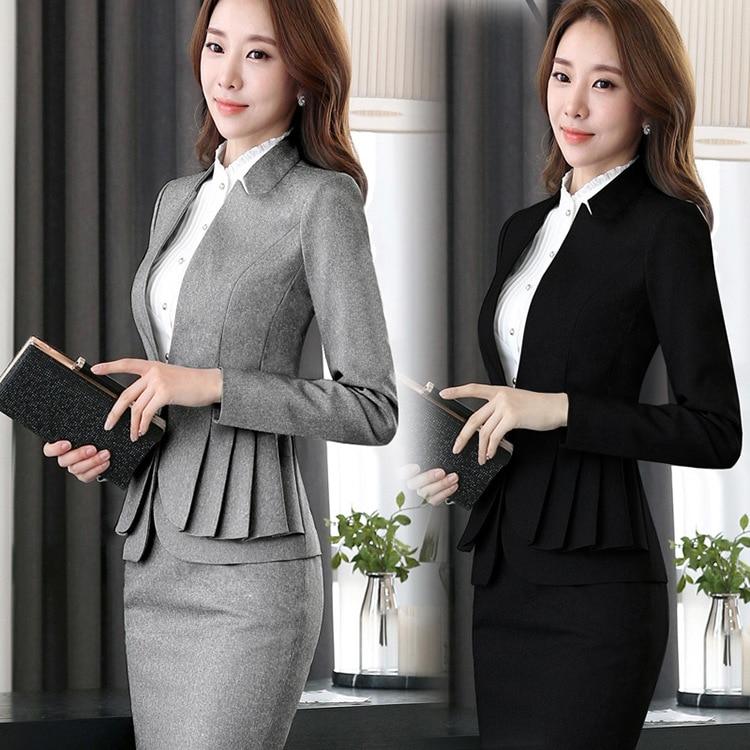 2018 Winter Formale Elegante Frauen Blazer Arbeiten Anzüge Damen Rock Jacken Anzug Set Büro Dame Uniformen Business Plus Größe 5xl Freigabepreis