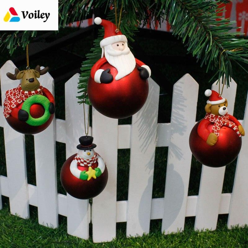 Christmas Tree 3D Balls Decor Santa Claus Elk Party Hanging Ornament Bauble Drop Pendant Kid Favor Xmas Home Gift Decorations,7