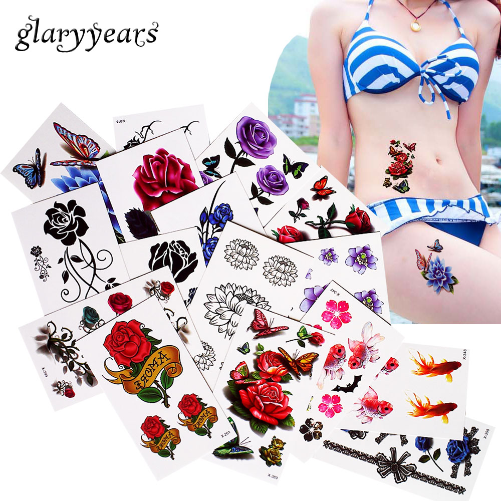 1 Sheet Beauty Small Flower Butterfly Tattoo Sticker Temporary Body Leg Arm Arse Art Decal Stocking Lace Tattoo for Beauty Women bracelet