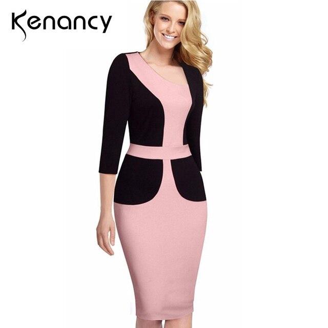 Kenancy 3XL Plus Size Asymmetrical Neck Hot Patchwork Hit Color Design  Office Dress 3 4 Sleeve Sheath Pencil Vestidos 2 Colors 70c6b9856b2b