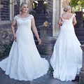 New White Plus Size Wedding Dress 2017 Scoop Neck Cap Sleeve A-Line Lace Up Back Lace Long Bridal Gowns Robe de mariee