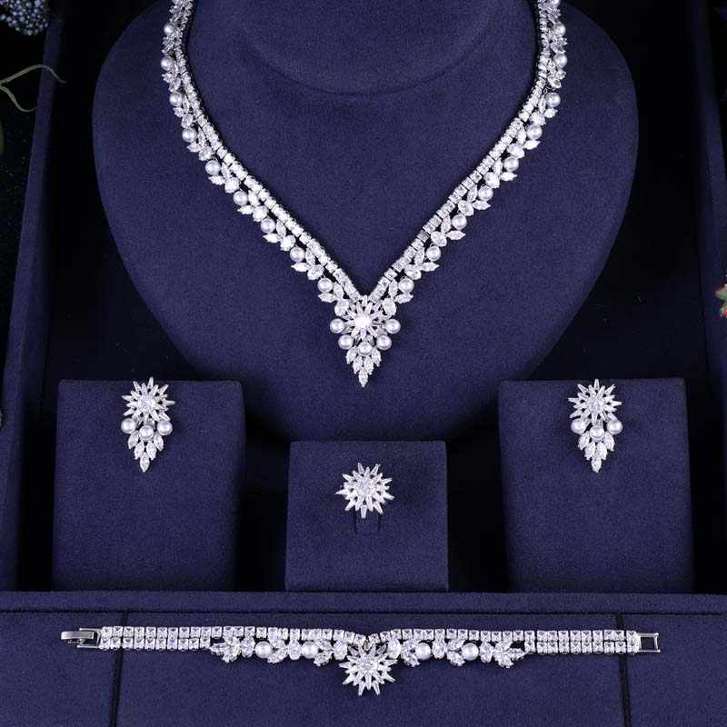 jankelly Nigeria pearl Bridal Zirconia For Women Party Luxury Dubai Necklace Earringa Rings CZ Crystal Wedding Jewelry Sets