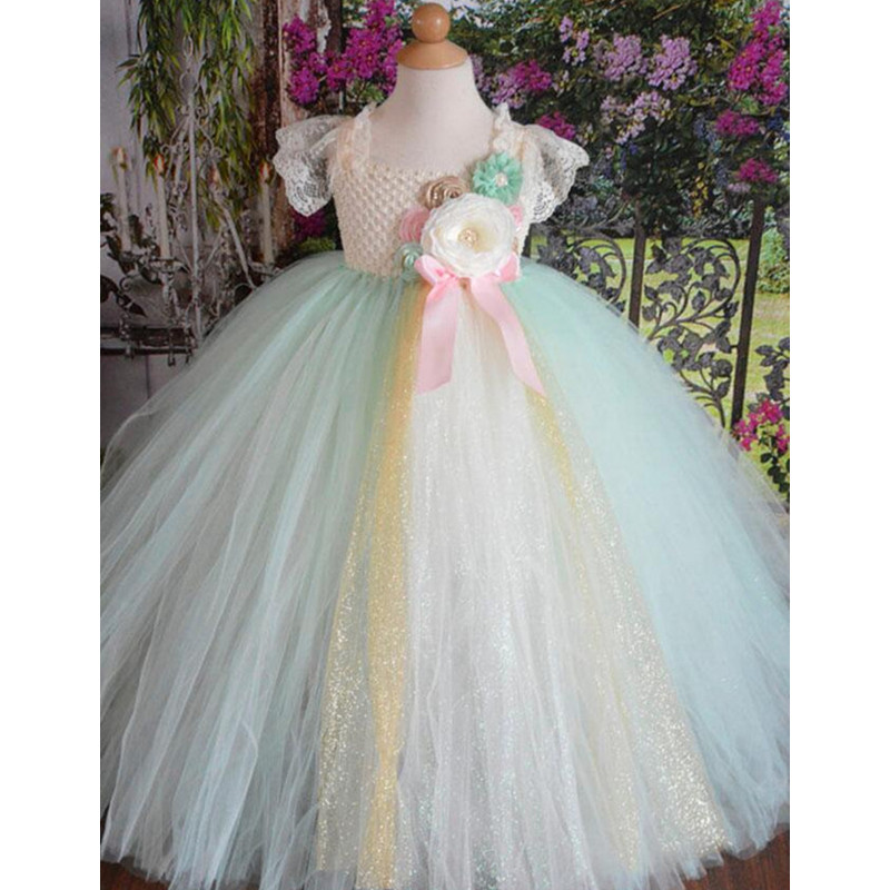 Mint Green Flower Girl Dresses Ball Gowns Children Kids Lace Tulle Princess Tutu Dresses for Girls Wedding Party Formal Dress 2017 new sequins kids girls lace tulle bowknot tutu dress sleeveless princess girl party dresses children clothes 2 7 years