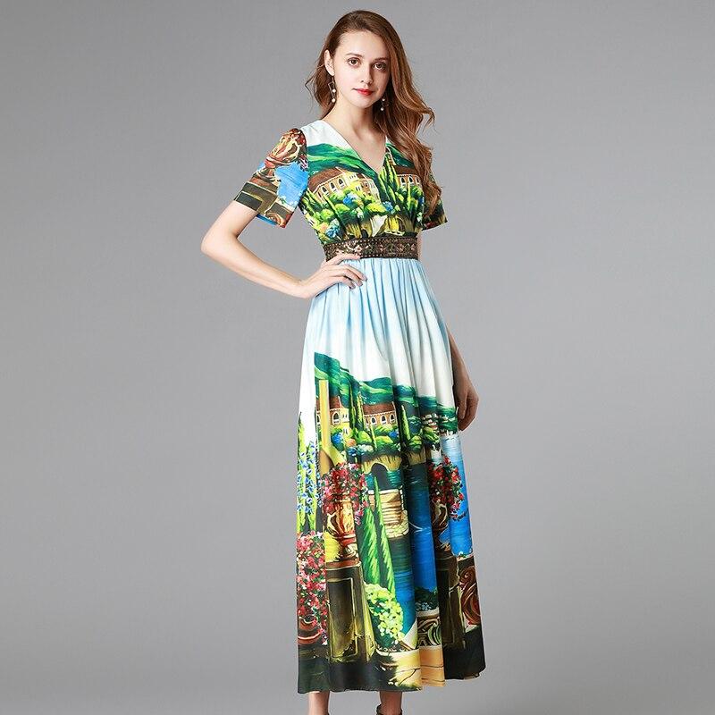 neck Mignon Manches 2019 De Femelle Longue Plissée Maxi Mode Printemps Qualité V Robe Haute Femmes Jolie Paillettes À Courtes CqnwZtS7q