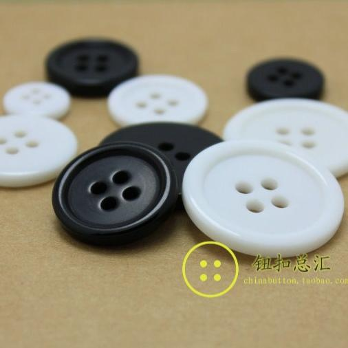 15-30 mm Plastic resin plating black white color round 4-holes button flatback Shirts coat buttons 200pcs/lot free shipping