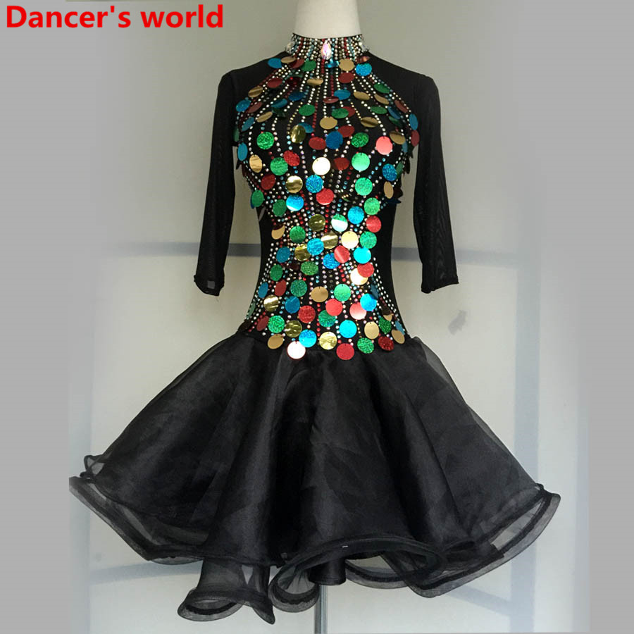 Latin Dance Dress Women Long Sleeves Back Opening Salsa Samba Tango Ballroom Competition Costume Lady Practise/Competition Dance