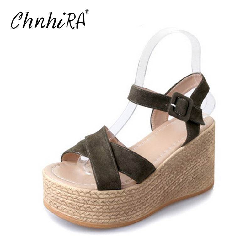 CHNHIRA 2017 Suede Gladiator Sandals Platform Wedges Summer Creepers Casual Buckle Shoes Woman Sexy Fashion High Heels #CH406 2017 summer new rivet wedges sandals creepers women high heel platform casual shoes silver women gladiator sandals zapatos mujer
