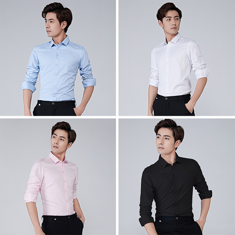 Image 3 - BROWON Brand Men Shirt Business Hydrophobic Material Long Sleeve Anti fouling Social Shirt Slim Fit Shirt Big Size 5XL-in Casual Shirts from Men's Clothing
