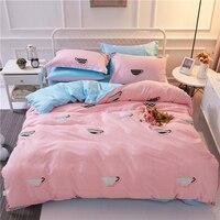 Monilyコージーソフト100%綿4ピースピンクグレー寝具ロマンチックな女