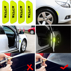 Image 5 - 4Pcs/Set Car reflective stickers Tape Warning Mark Night Driving Safety Lighting Luminous Tapes Accessories Car Door Stickers