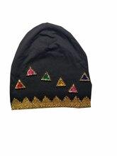 B-17812 мода 100% хлопок Хорошая растяжка Пилообразной shimmer шапочки цветов кристаллов hat сплошной черный шапочка дизайн пользовательского
