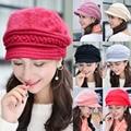 Women Stylish Winter Warm Wool Knitted Crochet Hat Ski Hunting Fur Cap CS158  HATCS0158