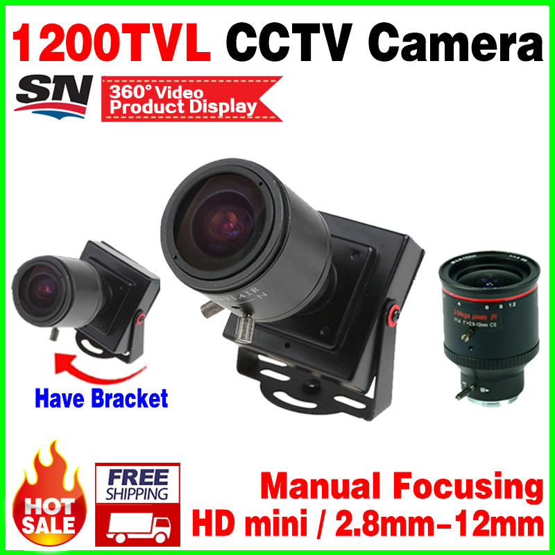 2017New Style 1200TVL Mini HD Camera 2 8mm 12mm Manual focusing Djustable Lens Metal security surveillance