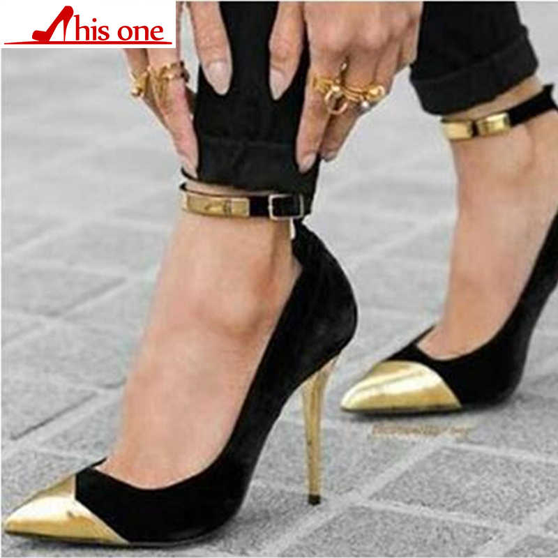 Womens High Heels Pointed-Toe Buckle Pumps Party Catwalk Shoes