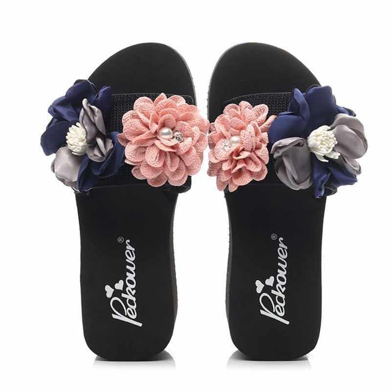 נשים קשת קיץ סנדלי נעל מקורה חיצוני כפכפים חוף נעלי חדש אופנה נקבה מקרית פרח נעל chanclas mujer
