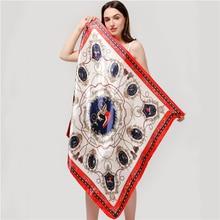 Luxury Women Silk Square Scarf Brand Print Satin Foulard Hijab Lady Bandana Head