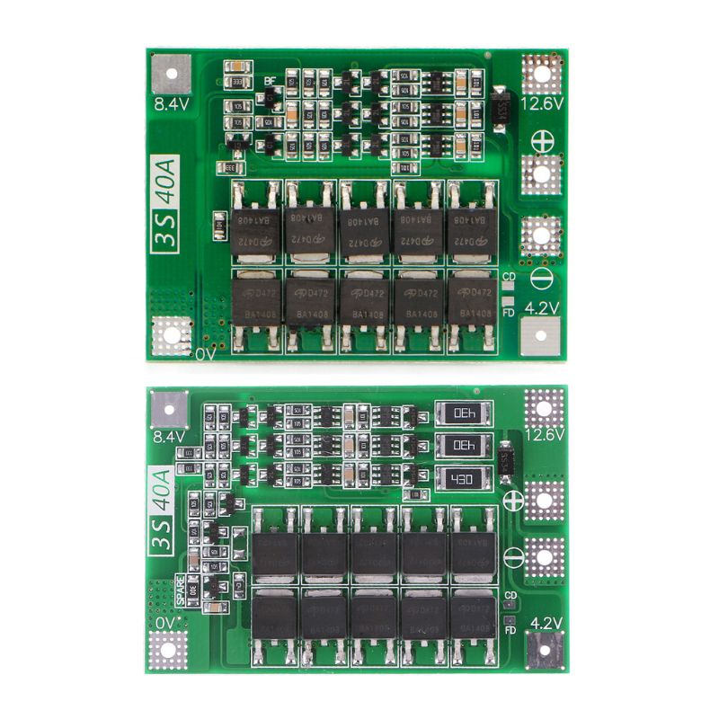 3s 11.1v 12.6v 40a W/balance 18650 Li-ion Lithium Battery Bms Protection Board Enhanced/balanced Version Dependable Performance Chargers