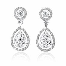 E0252 Fashion Wedding Jewelry Water Drop Design Rhinestone Crystal Earrings High Quality Cubic Zirconia Dangle Earring For Women