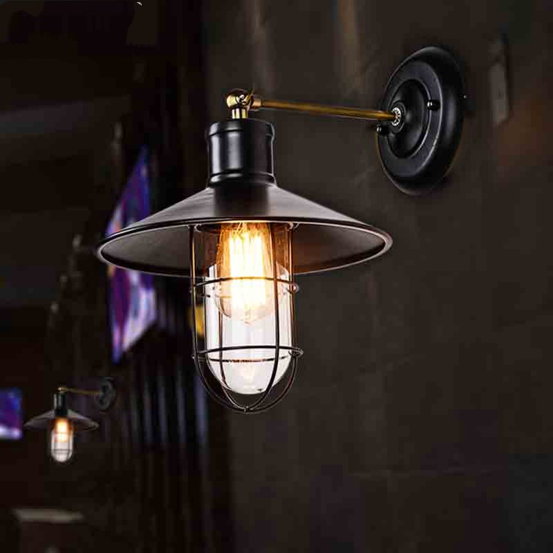 Modern Home Loft Style Aisle Wall Lamp Single Head Balcony Glass Wall Lamp Bar Bedroom Cafe Decoration Light Free Shipping free shipping american retro nostalgia aisle wall bar lamp loft single head lamp of creative industry