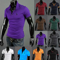 2016 Verão new Fashion Short-Sleeve plus size POLO dos homens Veado Camisas dos homens desgaste Fulvo Bordados de Algodão Casuais shirt T-shirt