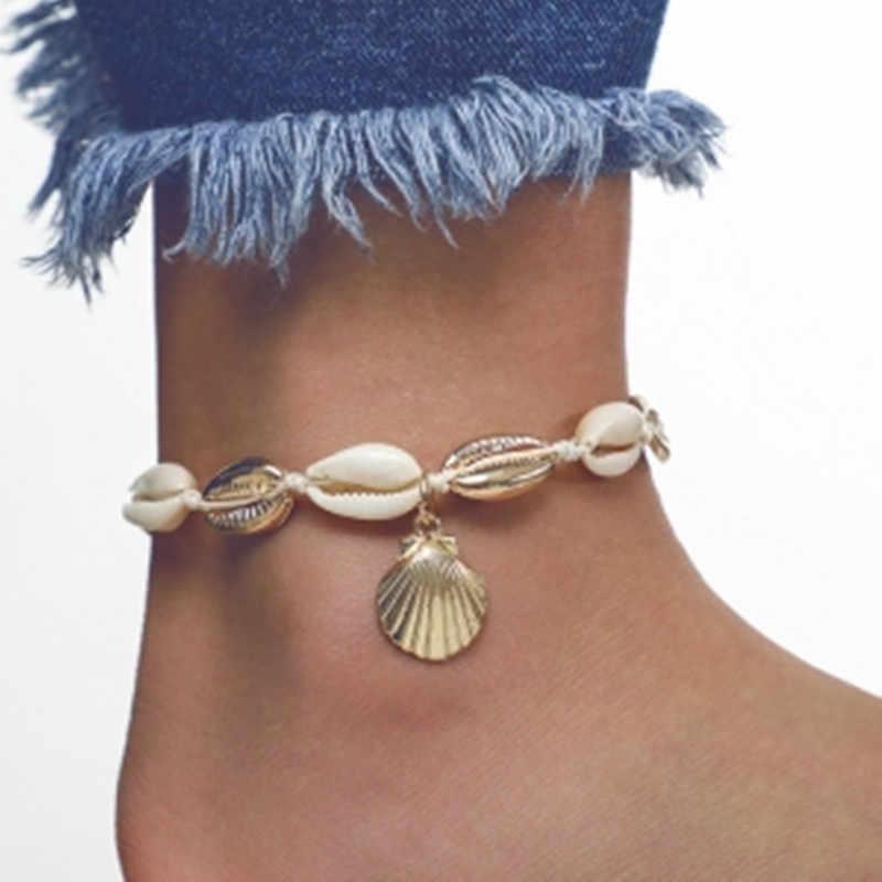W stylu Vintage Antique złoty kolor bransoletki na nogę kobiet powłoki cekiny koraliki bransoletka geometryczna Charm czeski bransoletka kostki Boho Foot biżuteria