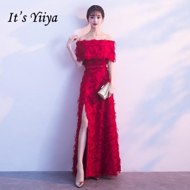 It's YiiYa Boat Neck Off The Shoulder Half Sleeve Backless Elegant Party Formal   Dresses   Furcal Floor Length   Evening     Dress   MX046