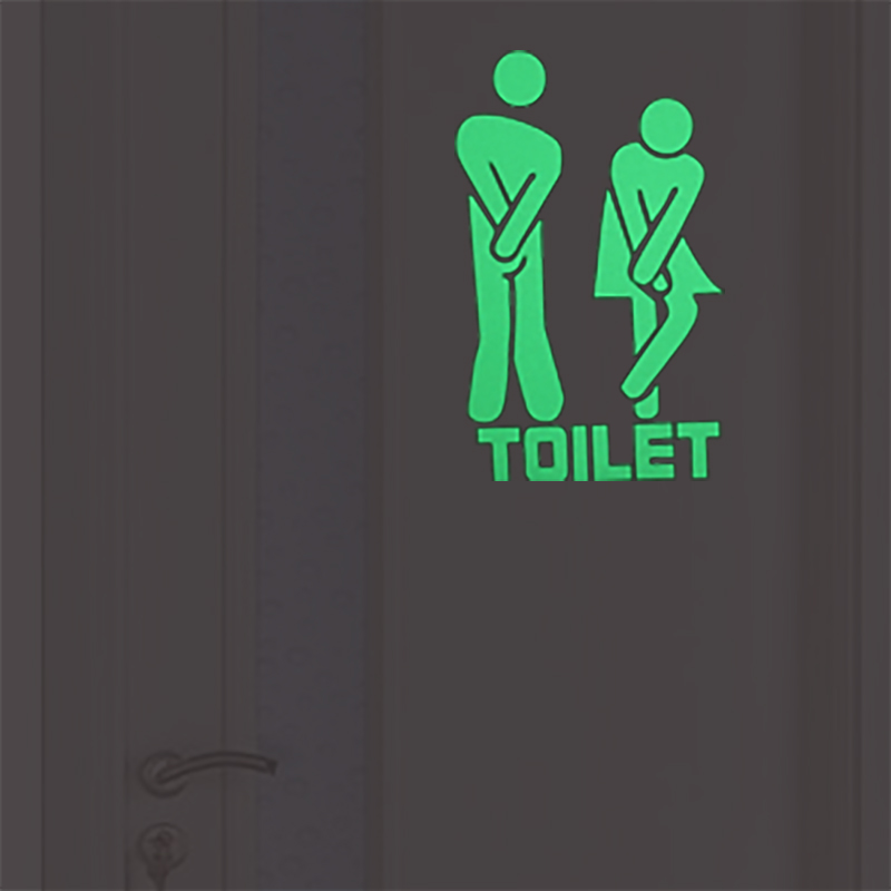 Toilet Stickers WC Wall Stickers Bathroom Door Decoration Decal Home Decor Funny Cartoon
