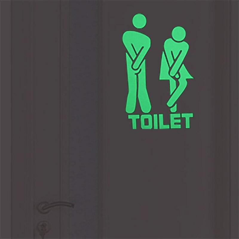 Toilet Stickers WC Wall Stickers Bathroom Door Decoration Decal Home Decor Funny Cartoon Indicator Sticker Men Women's Room Sign
