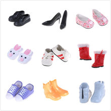 "1 Pair Unisex 18"" United States 43cm Baby NewBorn Doll Accessories Fashion Flower Leather Casual Doll Shoes Many Colors(China)"