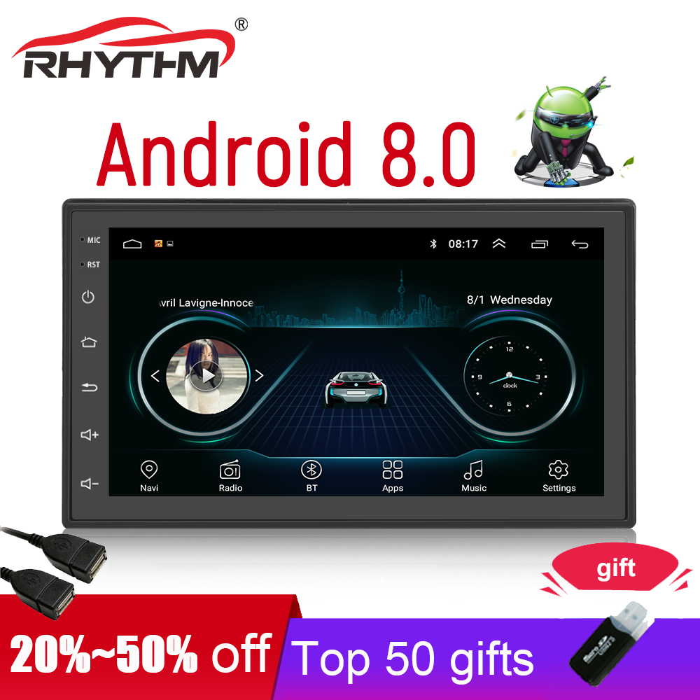 New 2din android 8.0 GPS car radio stereo auto 7 multimedia player bluetooth wifi audio Navigation support dab 1G+16G Quad Core
