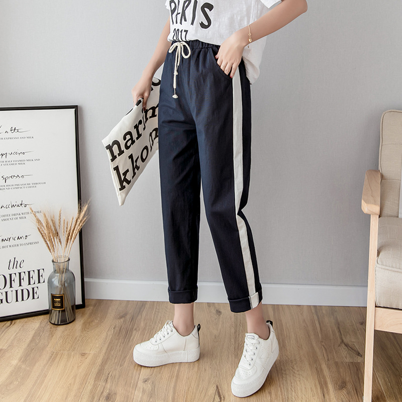 Women Ankle Length Pants Cotton Linen Harem Pants Elastic Waist Spring Summer Trousers Casual Side Striped Pencil Pants Black