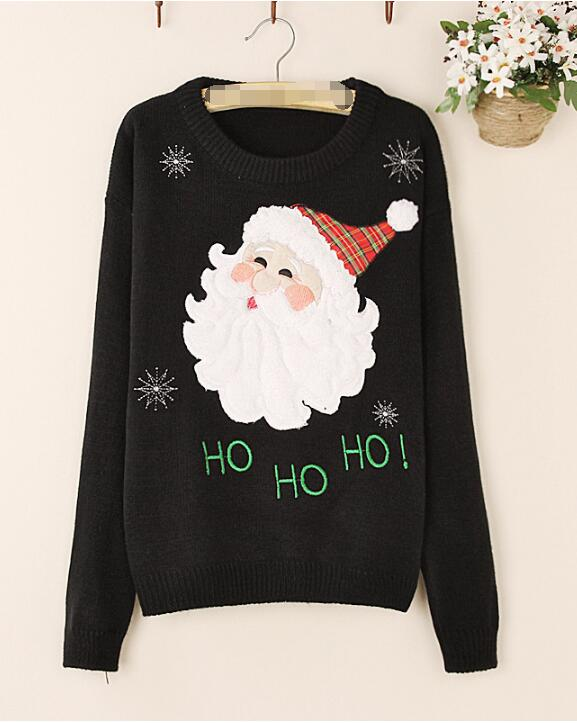 Winter Christmas Gift Women Casual Cotton Pullovers Sweater Santa Claus Snowflakes Pullover Knitwear Tops