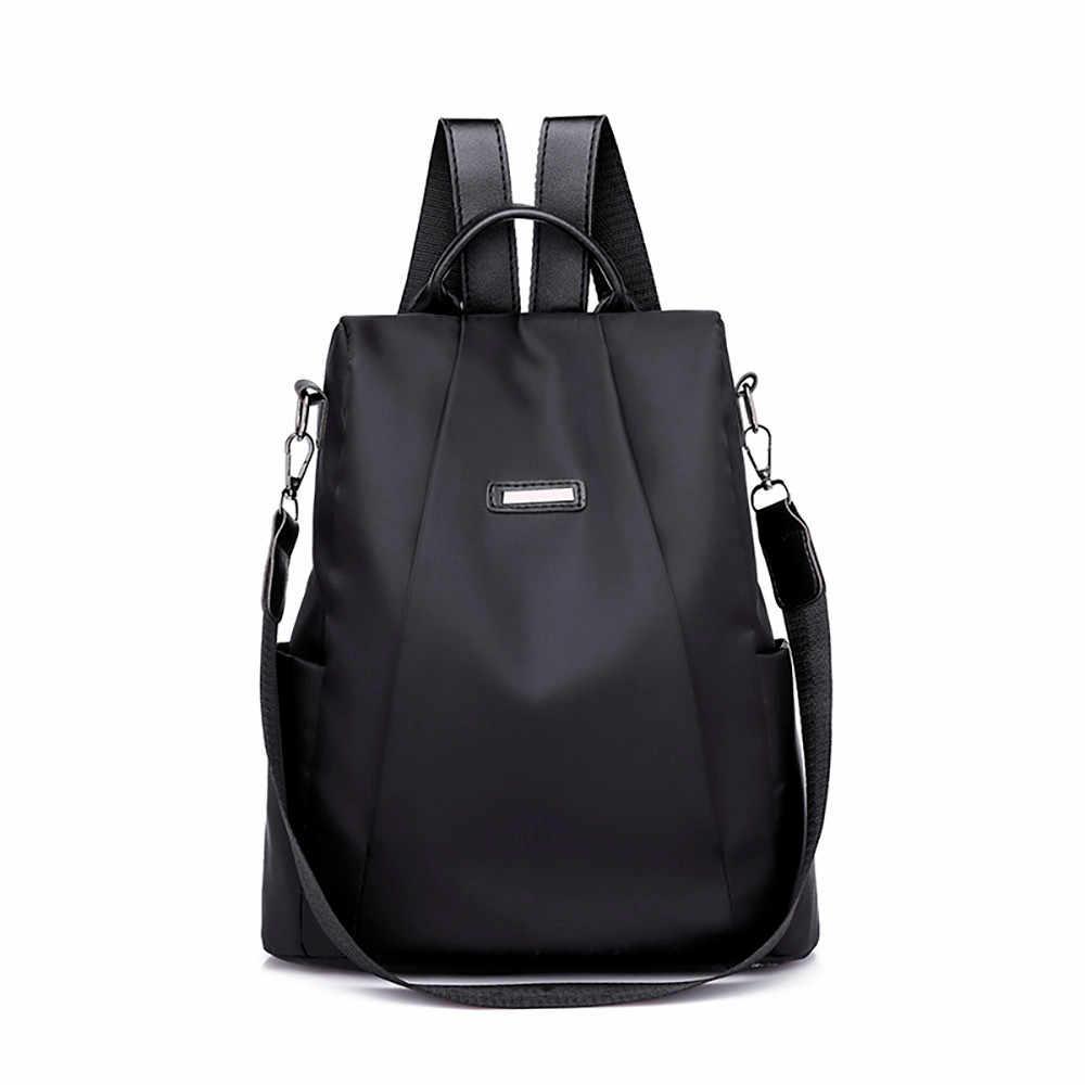f66dc044b224 Casual Oxford Backpack Women Black Waterproof Nylon School Bags for Teenage  Girls Daypack Bags Rucksack Travel