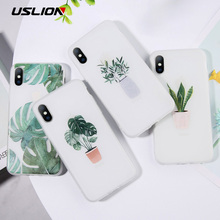 USLION Green Potted Plant Leaf Phone Case For iPhone 11 Pro Max X XS XR 6 7 6S 8 Plus Soft TPU Clear Cover