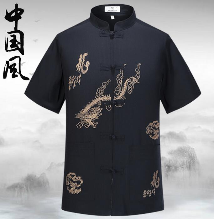 Quinquagenarian Tang Suit Mens Short-sleeve Suits 1 Summer Chinese Style Silk National Plate Stand Collar Clothing Plus Size