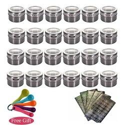 GOUGU Magnetic Spice Jars Container Set With Labels Stickers Pen Seasoning Bottle Pepper Storage Favor Of Elefants