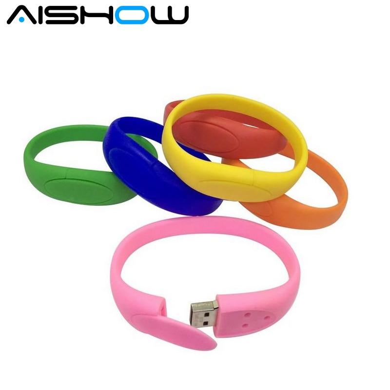 100% реальная емкость красочный браслет запястье дм USB флэш-накопитель силиконовые флешки 4GB 8GB 16GB 32GB 64GB