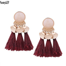 Naomy&ZP Ethnic Tassel Earrings Dangle Bohemian Earrings for Women Coin Boho Fringe Drop Earrings Stones Vintage Jewelry Brincos