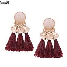 Naomy&ZP Ethnic Tassel Earrings Dangle Bohemian Earrings for Women Coin Boho Fringe Drop Earrings Stones Vintage Jewelry Brincos