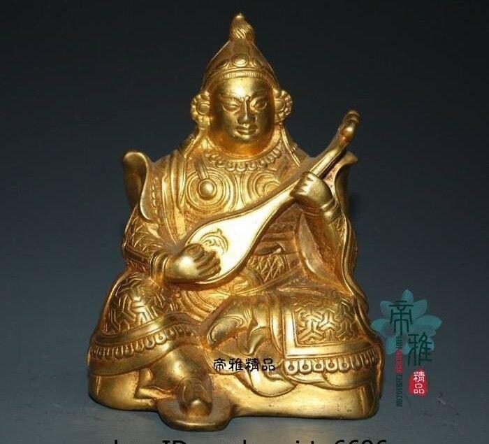 China Bronze Copper 24K Gold Gild Lute Four Heavenly Kings God Custodian Statue