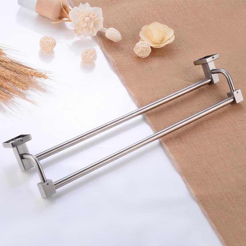 Uchwyt na ręczniki łazienka wieszak na ręczniki stojak ze stali nierdzewnej wieszak na ręczniki wieszak podwójne Bar kinkiet do montażu na ścianie prysznic szata półka łazienka sprzętu