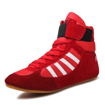 Profesjonalne bokserskie buty zapaśnicze gumowa podeszwa oddychające buty bojowe trampki Scarpe Boxe Uomo rozmiar 36-46 czerwony niebieski czarny tanie i dobre opinie pscownlg Masaż Winter2017 Pasuje prawda na wymiar weź swój normalny rozmiar boxling shoes Prawdziwej skóry Dla dorosłych